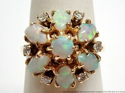 Vintage 14k Gold Natural Fiery White Opal Fine Diamond Princess Dome Bypass Ring