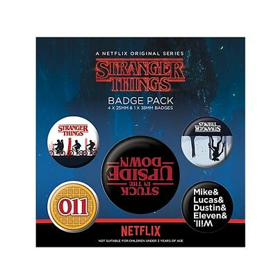 Genuine Netflix Stranger Things The Upside Down 5 Piece Badge Set Button Badges