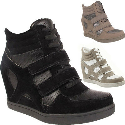 cf94f075111 New Ladies Girls Womens Lace Up Velcro Wedge Heel Trainers Ankle Boots  Shoes UK