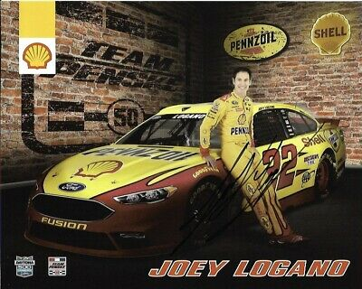 2016 Joey Logano Shell Pennzoil AAA NASCAR Signed Auto 8x10 Round Post Hero Card