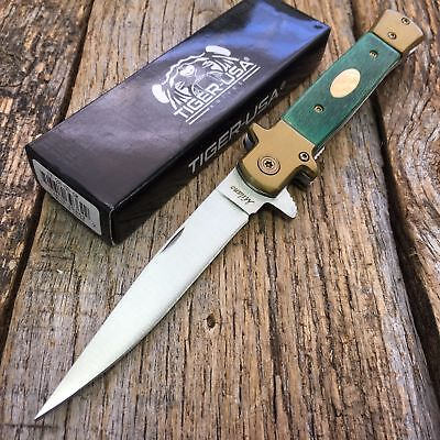 "9"" Green Wood Milano Italian Stiletto Tactical Spring Assisted Open Pocket Knife"