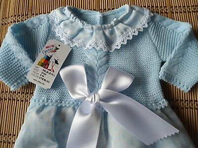 Bnwt Spanish Baby Blue Details 1Pc Long Sleeve Fine Knit Romper-3M