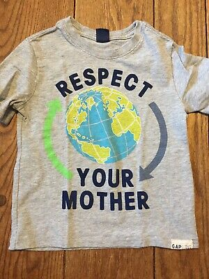 Gap 4 4T 100 Respect Mother Earth Day Planet Gray Boys Shirt Sleeve Recycle