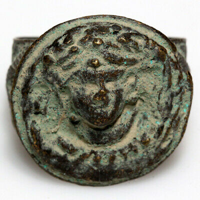 Late Medieval Greek Bronze Ring Depicting Helios Bust