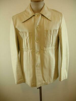 Mens M 42 Vtg 1970's Atkinson Ivory Leather Shirt Jacket Retro Big Collar Disco
