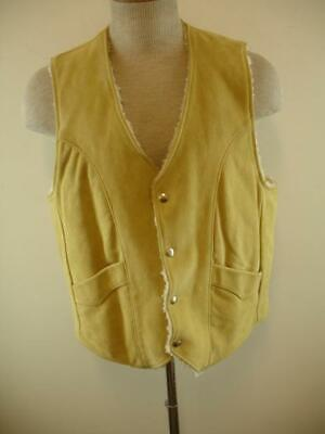Mens M Vtg 1970s Pioneer Wear Sherpa Lined Tan Suede Leather Western Vest Jacket