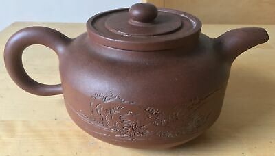 SIGNED antique CHINESE YIXING TEAPOT with incised CALLIGRAPHY and MOUNTAIN SCENE