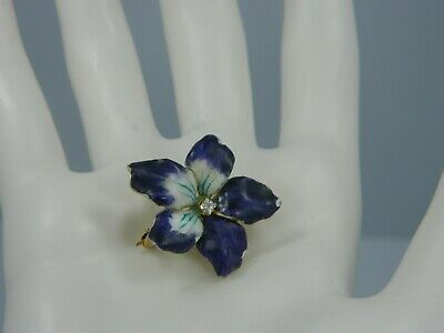 Exquisite Vintage 14K Yellow Gold .03TCW Diamond & Enamel  Flower Pin/Brooch #M