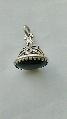 Antique Sterling Silver Albert Pocket Watch Chain Fob With Black Onyx Stone