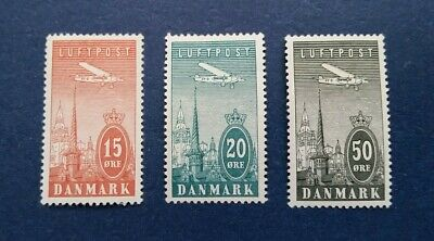 Denmark Stamps, Scott C7-9 Mint and Hinged with thin spots.