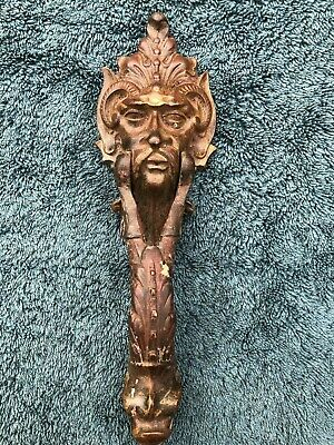 SUPERB 19thC GOTHIC KENRICK DOOR KNOCKER WITH GROTESQUE HEAD & DOLPHIN c1880s