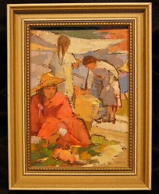 Listed Harriet Denbo McAllen Texas Mexican Figurative Oil on Canvas Painting