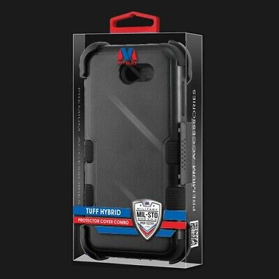 3-in-1 Hybrid Rugged Tuff Case+Holster+Screen Protector For Galaxy J7 Perx J727T