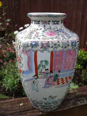 Rose Medallion Chinese Vase with Figures, Butterflies, Flowers & Birds 32 cm