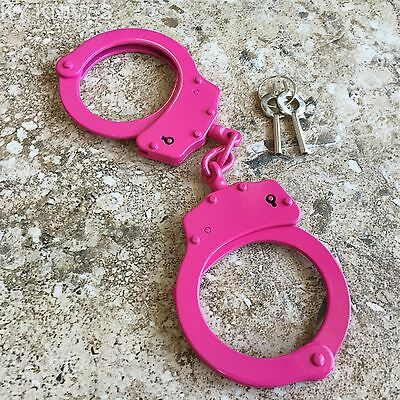 PINK Steel Hand Handcuffs Police Double Locking Real Lock Cuffs with 2 key F