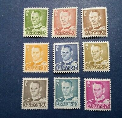 Denmark Stamps, Scott 306-314 Mint and Hinged