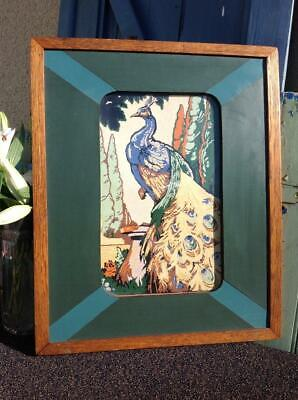 STUNNING Art Deco Peacock Original Painting Oak Geometric Frame Art Nouveau CHIC