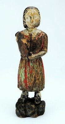 Spanish Colonial Wood Carved Santo Figure Doll Mannequin Orig. Polychrome Paint