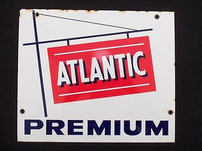 Atlantic Porcelain Sign Vintage Gas Station Pump Original Premium Oil Gasoline