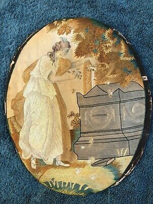SUPERB 18thC SILK TAPESTRY OF A  WOMAN AT THE TOMB OF SHAKESPEARE c1790s