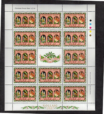 IRELAND #703-705a  1987  CHRISTMAS     MINT  VF NH  O.G  SHEET W/CENTER LABEL