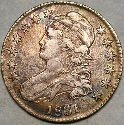 1831 Capped Bust Lettred Edge Silver Half Dollar Crisp Appealing Colorful Toning