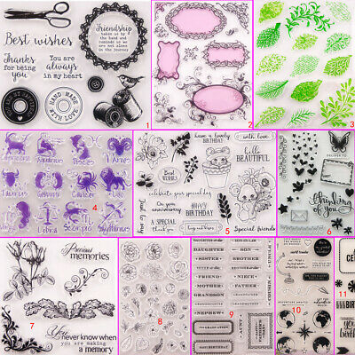Flower Leaves Transparent Silicone Clear Stamps DIY Scrapbook Embossing Card Art
