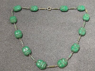 Vintage Max Neiger Egyptian Revival Czech Glass Scarab Necklace Choker Unusual