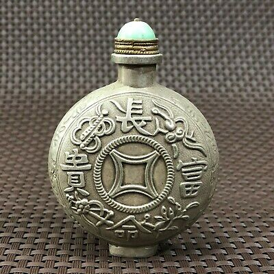 Chinese Antique Collectible Rare Tibet Silver Handwork Flowers Snuff Bottle