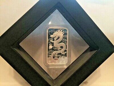 2018 1 OZ 9999 Perth Mint Silver Proof Dragon Bar In Latex Case with COA