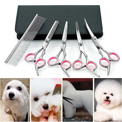 """6"""" Professional Hair Cutting Scissors Pet Dog Grooming Kit Curved Shears Tool"""
