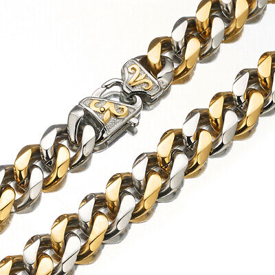 "Curb Chain Necklace for men 316L Stainless Steel 7""-40"" 12mm/15mm Silver Gold"
