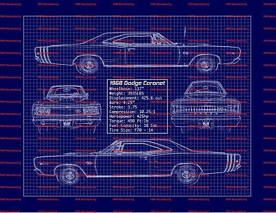 "1968 68 Dodge Coronet R/T Blue Print Art Photo 11""x14"" Poster"