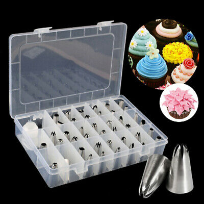 42Pcs Durable Large Icing Piping Nozzles Pastry Stainless Steel Tips Set