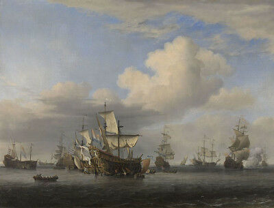 """oil painting on canvas """"conquer english ships after the four-day battle  """""""