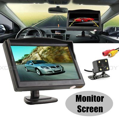 """5"""" LCD Monitor Wired Rearview 4 LED Camera Reversing Car Parking Kits Waterproof"""