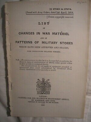 BRITISH ARMY WAR Materiel Manual 1915 Equipment Weapon History Artillery