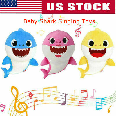 Soft Doll Baby Kid Shark With Music Cute Animal Stuffed Plush Baby Shark Toys US