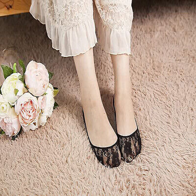 White Invisible Sock Thin Section Shallow Mouth Lace Hollow Summer Boat Socks CB
