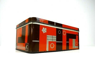 Rare Big German Bauhaus Suprematism Tin Box Art Deco 1930 Case