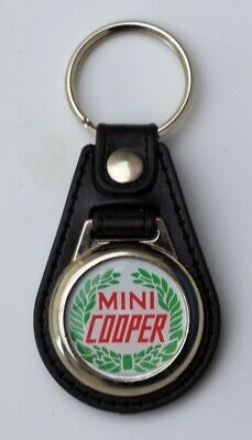 Mini Cooper Black Leather Style Keyring with Classic Mini Cooper Logo (1041)