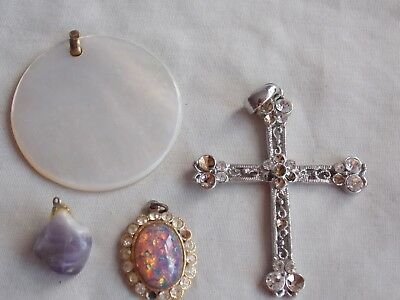 Mixed Lot Of Vintage Costume Jewellery Pendants, Including Mother Of Pearl