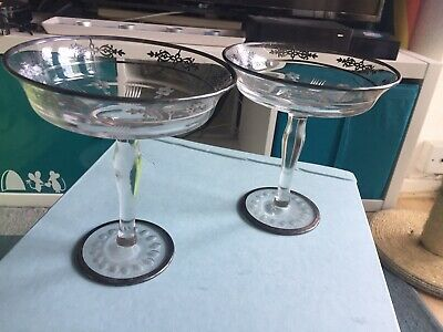 2 Glass & Silver & Antique Dishes Champagne Glasses
