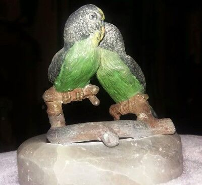 A Pair Of Vintage Cold Painted Spelter Budgies On Onyx Base