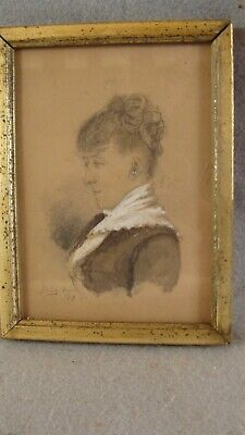 Antique 1883 Miniature Graphite Drawing of Woman Gilt Frame