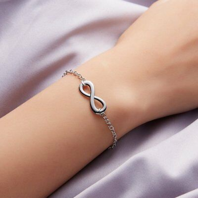 Chic Infinite 8 Simple Silver Plated Bracelet Banquet Jewelry Charm Wedding Gift