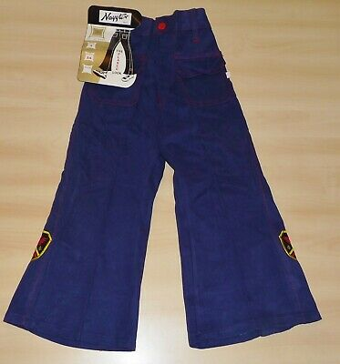VINTAGE 1970's UNWORN NAYYTEX NAVY & RED FLARED APPLIQUE JEANS AGE 4-5 YEARS