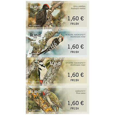 ALAND ISLAND:Post & Go /ATM, 2019 WOODPECKERS Set of 4 VALUES MNH