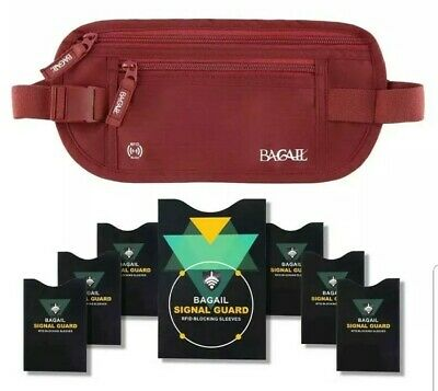 Bagail Money Belt Pouch w/ Dual Clip For Travel With RFID Passport & Credit Card
