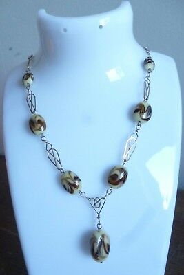 vintage 1930s / 1940s gold plate wire & Venetian glass bead necklace